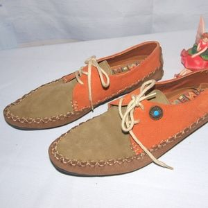 Hush Puppies Moccasins Real Leather Boho RARE 10M
